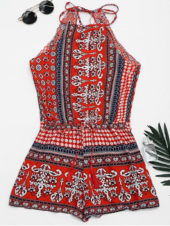Tribal Print Cut Out Cami Romper - Rouge XL
