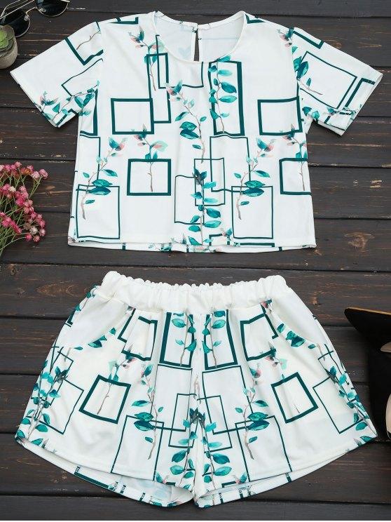 Ensemble de shorts en haut et en poche pour feuilles - Blanc XL