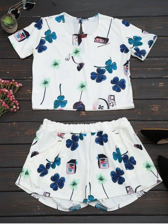 Impreso Top con cintura alta conjunto de cortos - Blanco L