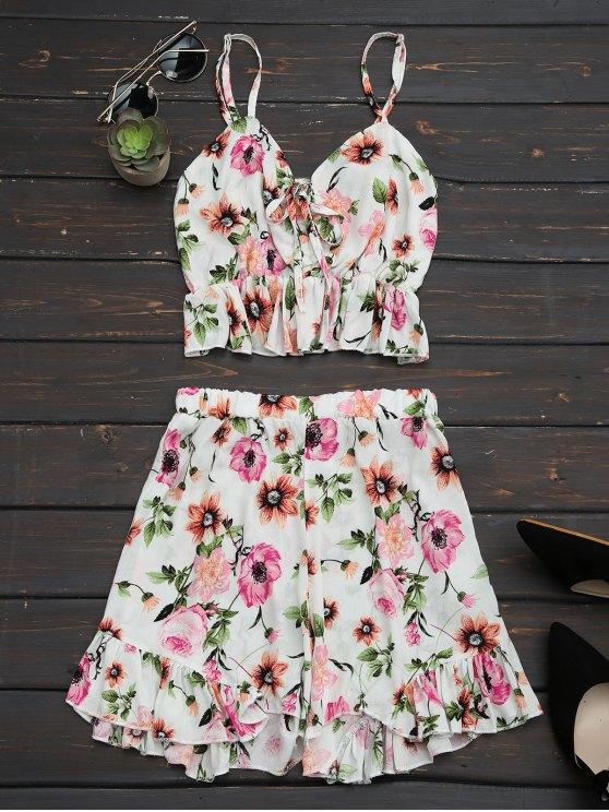 Floral Print Ruffles Cami Top y pantalones cortos - Floral S