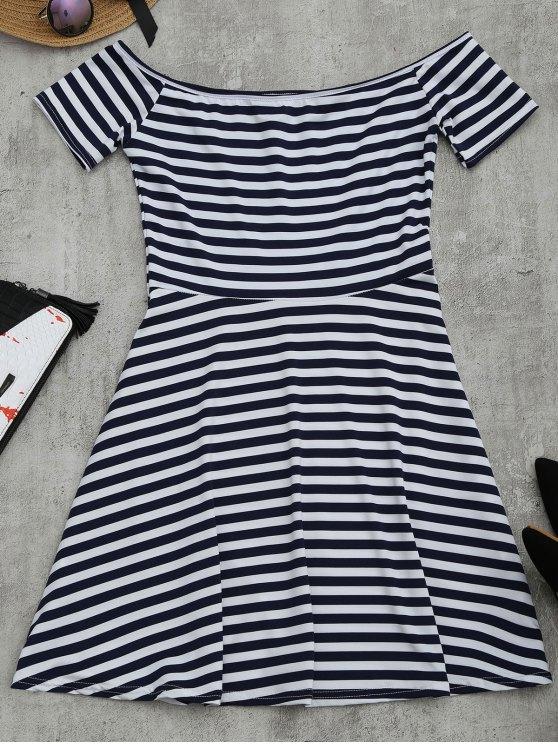 women Off The Shoulder Striped Flare Dress - STRIPE 2XL