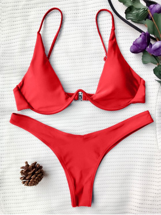 womens Push Up Plunge Bathing Suit - RED M