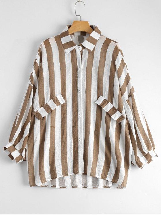 hot Oversized Button Up Striped Blouse - KHAKI ONE SIZE