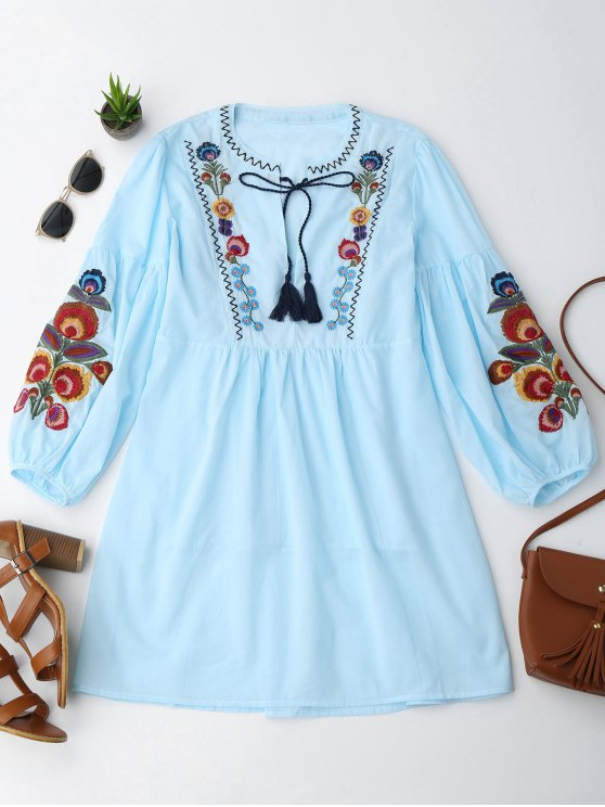 best Long Sleeve Floral Embroidered Tunic Dress with Cami Tank Top - LIGHT BLUE S