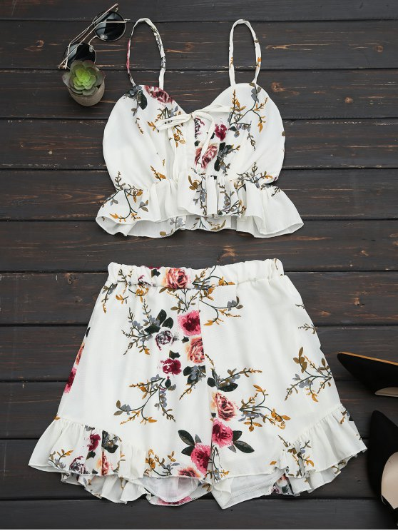 unique Floral Print Ruffled Cami Two Piece Set - FLORAL M