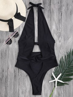 Cut Out High Leg Plunging Neck Monokini - Black M