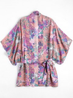 Belted Chiffon Floral Kimono Blouse - Floral