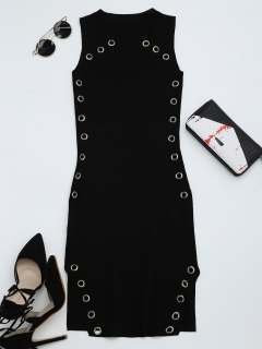 Ring Embellished Slit Bodycon Knit Dress - Black