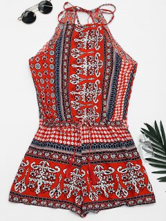 Tribal Print Cut Out Cami Romper - Red M