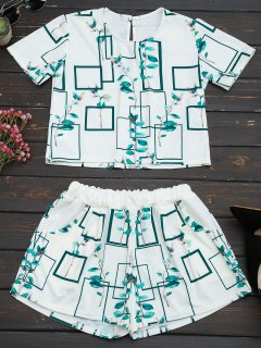 Leaves Print Top And Pocket Shorts Set - White 2xl