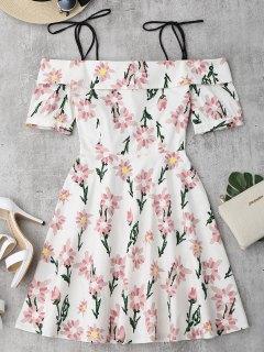 Cami Robe Imprimé à Fleurs Ourlet à Vloants - Floral L