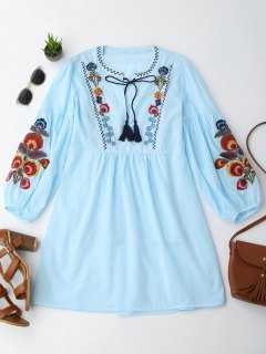 Long Sleeve Floral Embroidered Tunic Dress With Cami Tank Top - Light Blue L