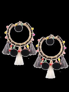 Fuzzy Ball Beaded Tassel Hoop Earrings - Black