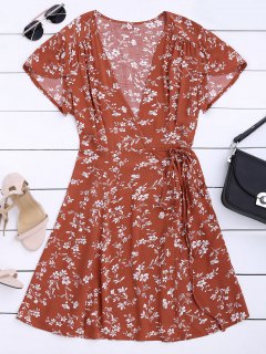 Floral Print Self Tie Wrap Dress - Floral M