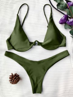 Push Up Plunge Bathing Suit - Green M