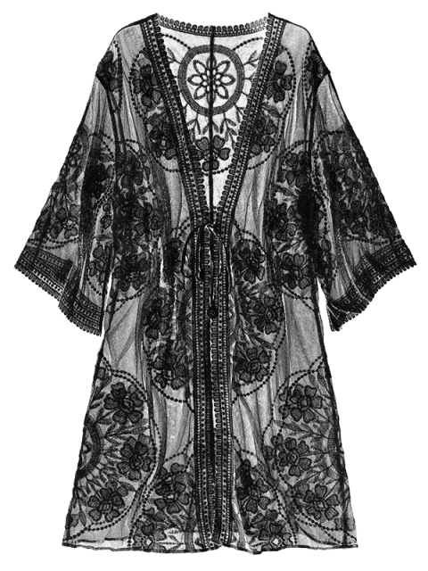 hot Sheer Lace Tie Front Kimono Cover Up - BLACK ONE SIZE Mobile