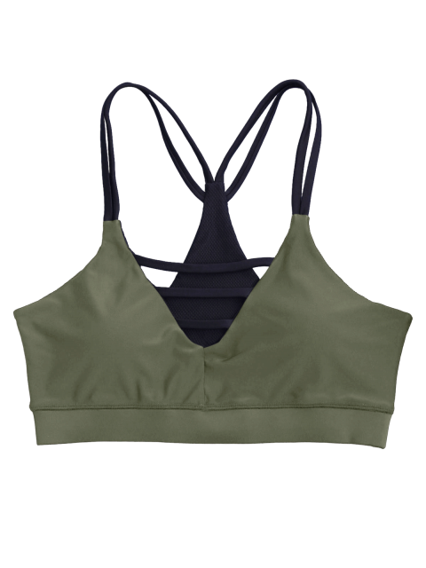buy Padded Double Straps Strappy Sporty Bra - ARMY GREEN L Mobile
