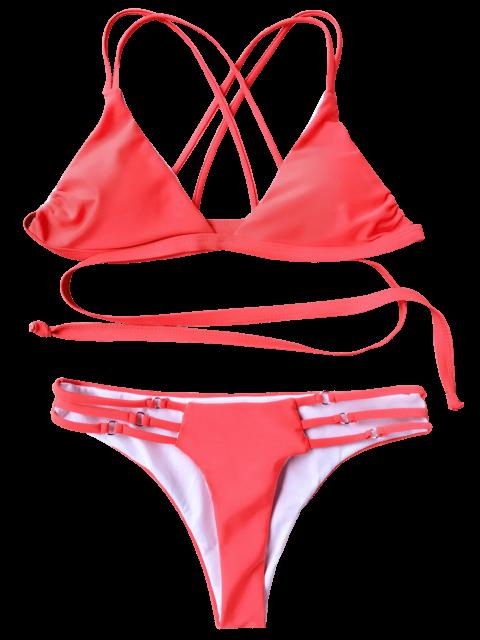 women Strappy Wrap Bikini Top and Bottoms - LAKE L Mobile
