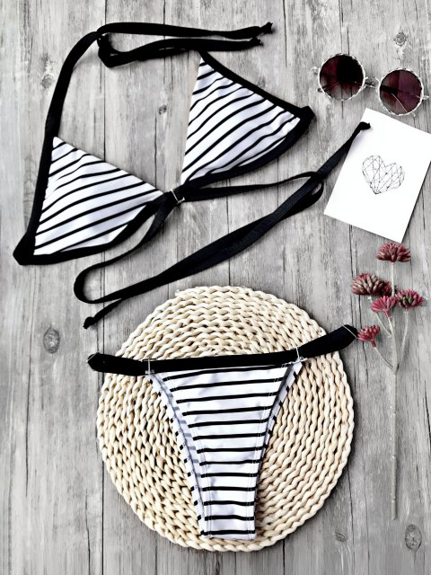 lady Striped Padded Adjustable String Bikini Set - WHITE AND BLACK L Mobile