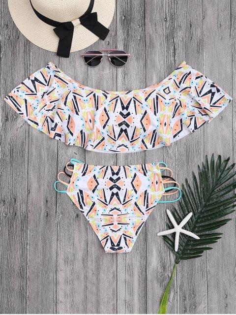 chic Off Shoulder Geometric Pattern Banded Bikini - COLORMIX L Mobile