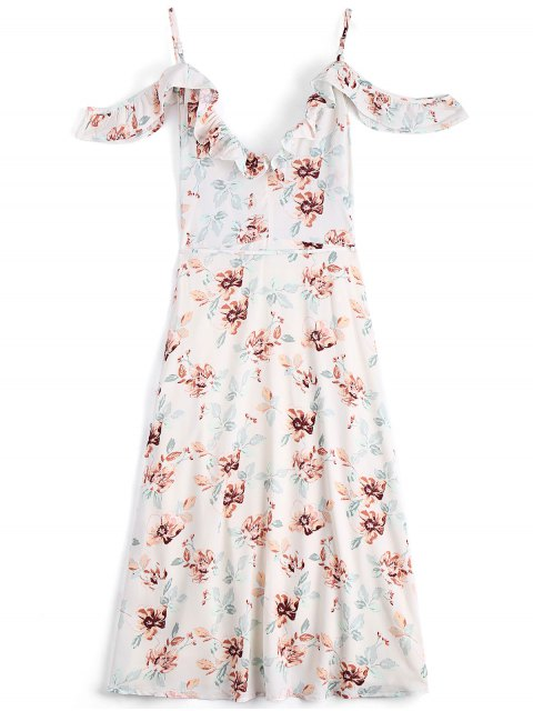 buy Floral Cold Shoulder Asymmetrical Wrap Dress - FLORAL M Mobile