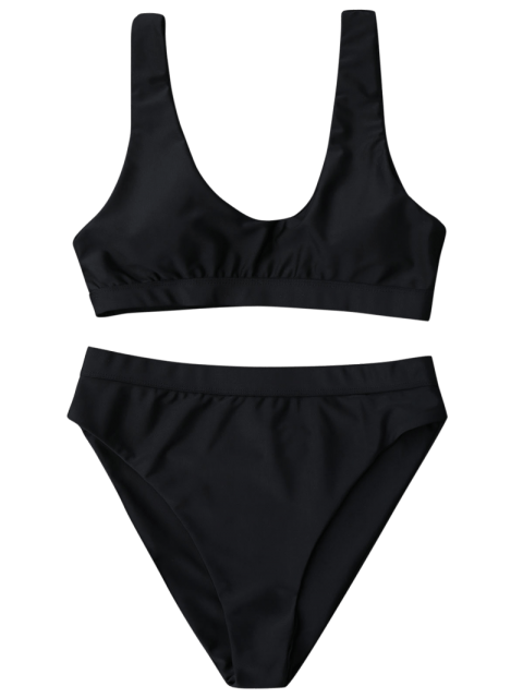 lady Sporty High Cut Scoop Bikini Set - BLACK L Mobile