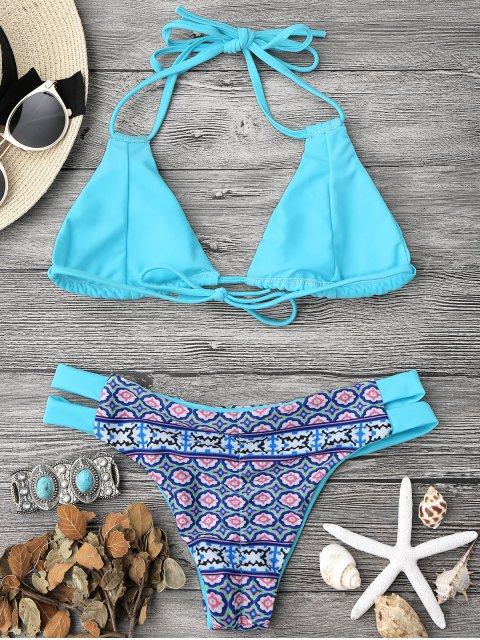 outfits Printed Halter Padded Bikini Top and Bottoms - TURQUOISE L Mobile