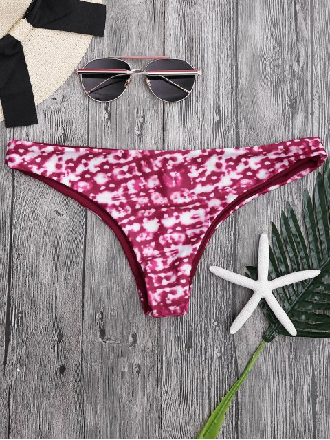 latest Mid Waist Tie-Dyed Thong Bikini Bottoms - RED L Mobile