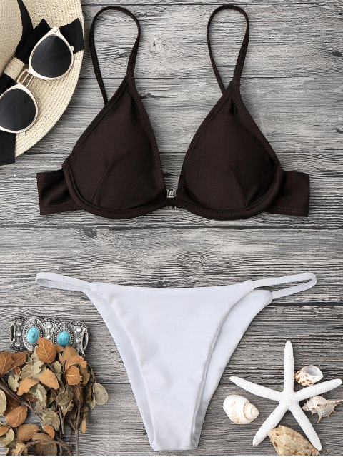 sale Color Block V String Underwire Bikini Set - WHITE AND COFFEE L Mobile