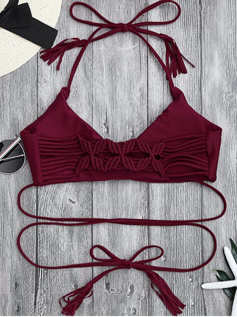 womens Fringes Halter Braided Front Tied Bikini Top - DEEP RED L Mobile