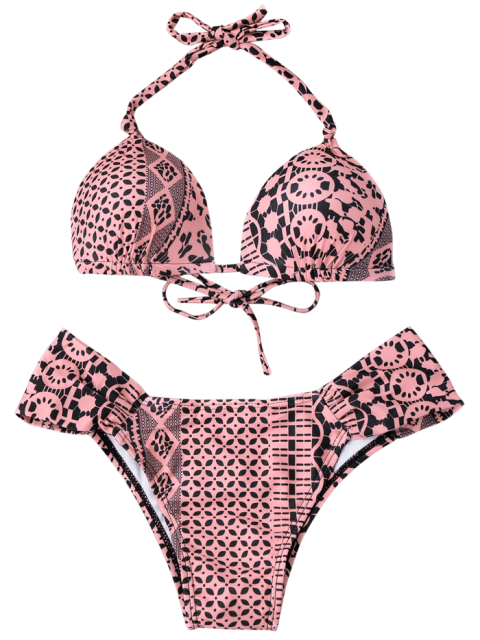 online Tile Print Molded Cupped Bikini Set - BLACK AND PINK L Mobile