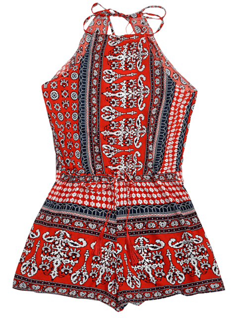 trendy Tribal Print Cut Out Cami Romper - RED S Mobile