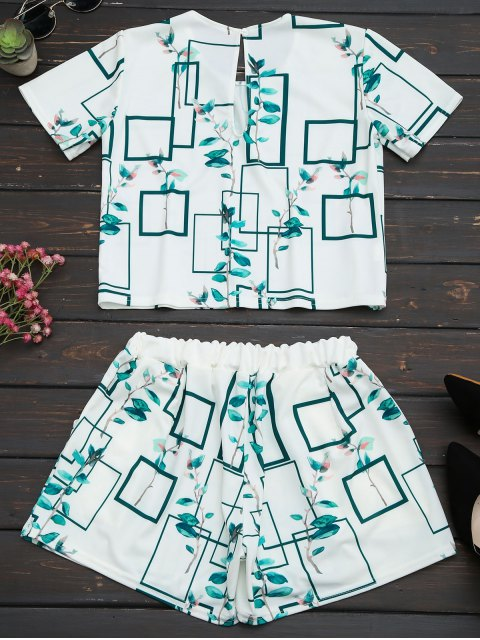 online Leaves Print Top and Pocket Shorts Set - WHITE L Mobile