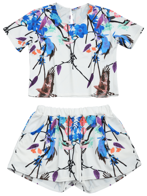 chic Printed Top and High Waist Shorts Set - MULTI L Mobile