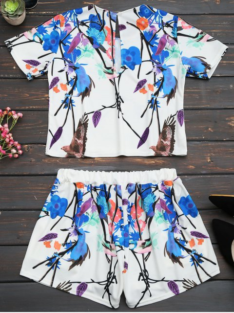 unique Printed Top and High Waist Shorts Set - MULTI 2XL Mobile
