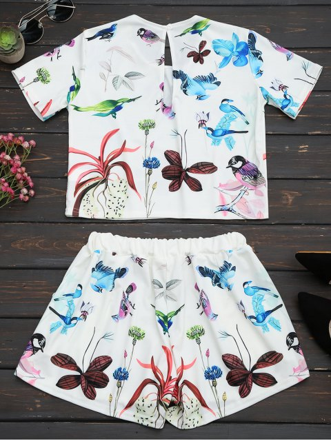 online Printed High Waist Two Piece Set - WHITE S Mobile