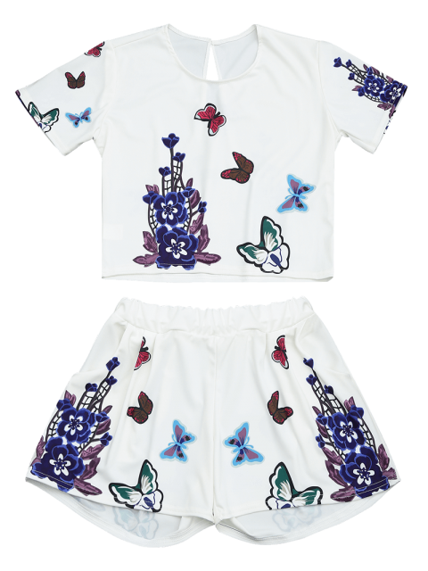 latest Butterfly Floral Print Top and Shorts Set - WHITE L Mobile