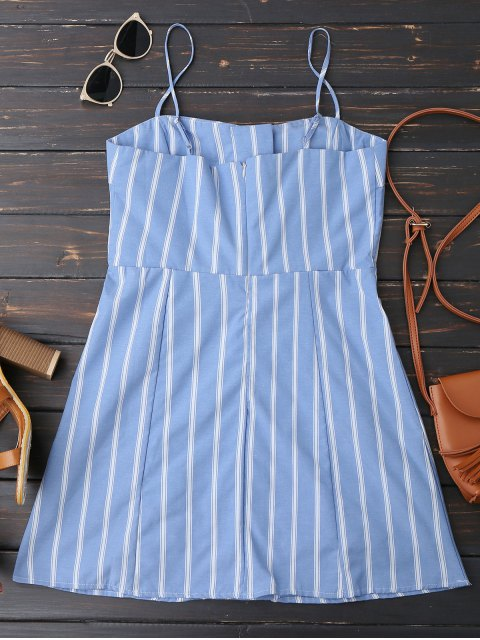 women Stripes Back Zipper Lace Up Mini Dress - STRIPE S Mobile