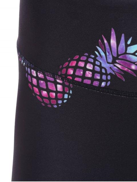 women's High Waisted Pineapple Print Gym Yoga Leggings - BLACK L Mobile