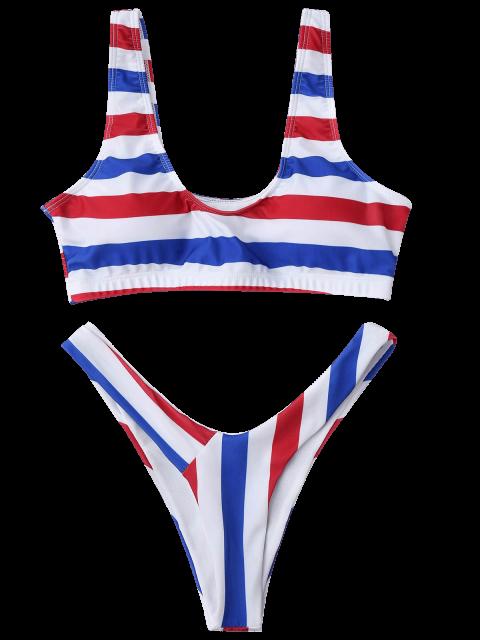 best Padded Striped High Cut Scoop Bikini Set - STRIPE L Mobile
