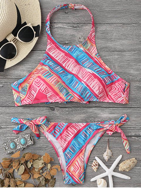 shop High Neck Bikini Top and Tieside Bottoms - MULTICOLOR L Mobile