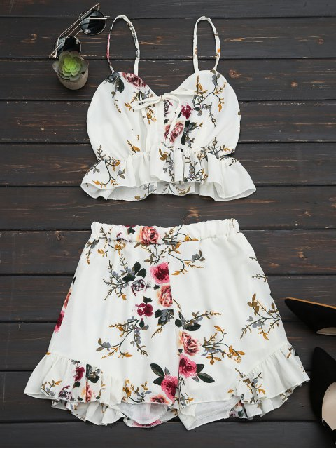 fancy Floral Print Ruffled Cami Two Piece Set - FLORAL S Mobile