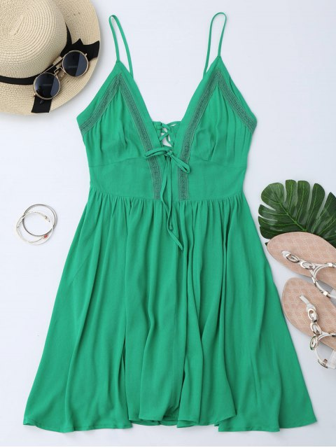 new Plunge Low Back Lace Up Sundress - GREEN L Mobile