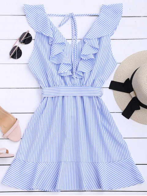 hot Ruffle Hem Striped Belted Dress - STRIPE S Mobile