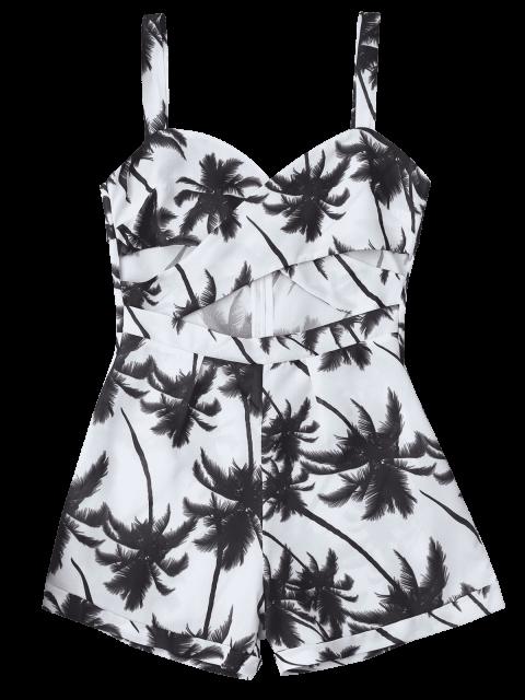 fancy Palm Tree Print Cut Out Romper - WHITE M Mobile