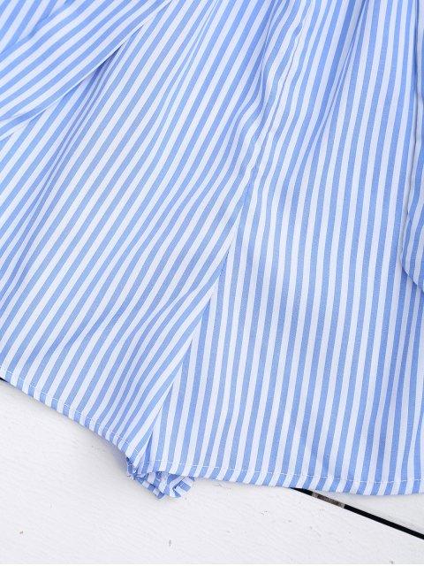 affordable Flounce Hem Striped Belted Romper - STRIPE S Mobile