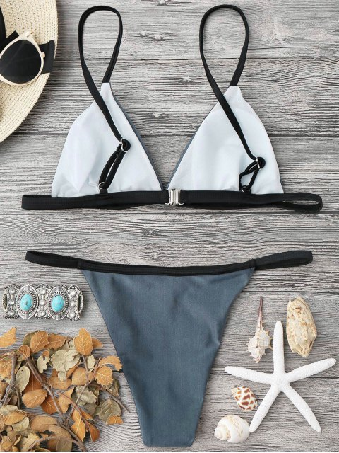 women Padded Contrast String Bikini Top and Bottoms - BLUE GRAY L Mobile
