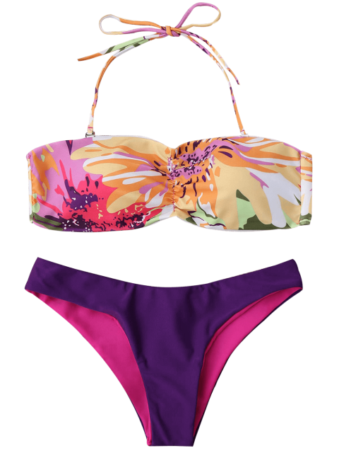 lady Padded Watercolor Bandeau Bikini Set - MULTICOLOR L Mobile