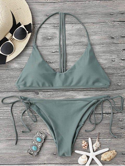 chic T Back Soft Pad String Bikini Set - ARMY GREEN L Mobile