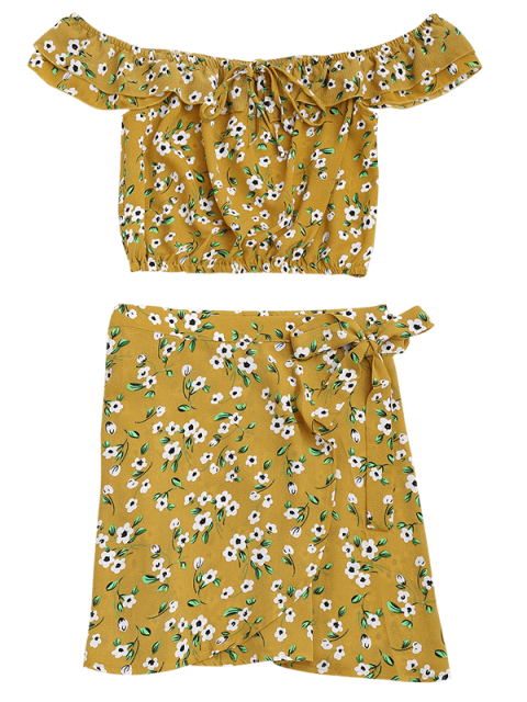 shops Floral Print Ruffle Top and Wrap Skirt - FLORAL S Mobile